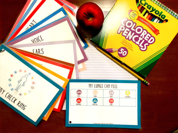 Cards with school supplies